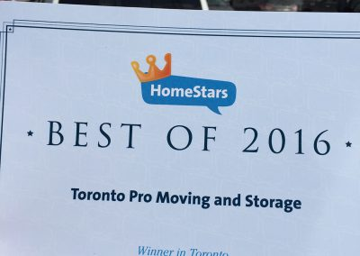 Moving Company Toronto Homestars Awards 2016
